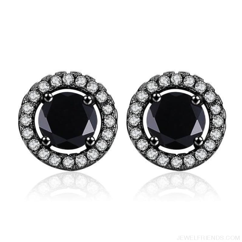 White Gold Color Aaa Zircon Round Earrings - A341 - Custom Made | Free Shipping