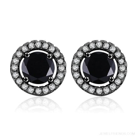 Image of White Gold Color Aaa Zircon Round Earrings - A341 - Custom Made | Free Shipping