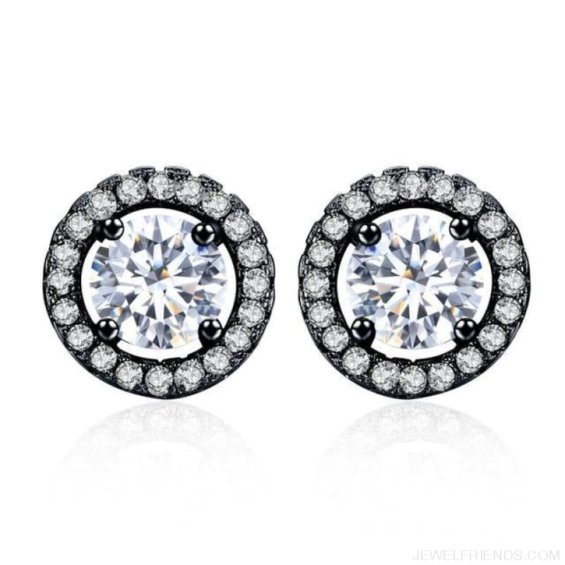 White Gold Color Aaa Zircon Round Earrings - Black - Custom Made | Free Shipping