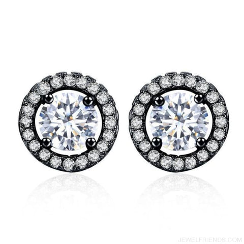 Image of White Gold Color Aaa Zircon Round Earrings - Black - Custom Made | Free Shipping