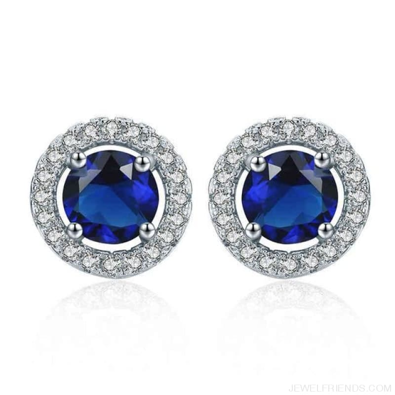 White Gold Color Aaa Zircon Round Earrings - Blue - Custom Made | Free Shipping