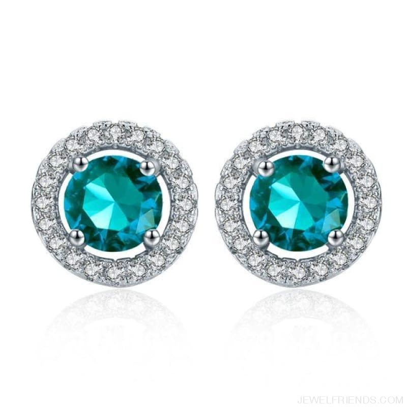 White Gold Color Aaa Zircon Round Earrings - Blue Sky - Custom Made | Free Shipping