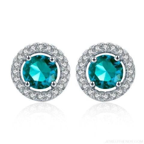 Image of White Gold Color Aaa Zircon Round Earrings - Blue Sky - Custom Made | Free Shipping