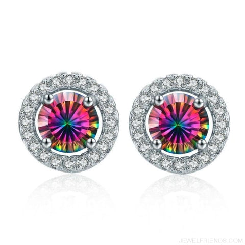 Image of White Gold Color Aaa Zircon Round Earrings - Colorfu - Custom Made | Free Shipping