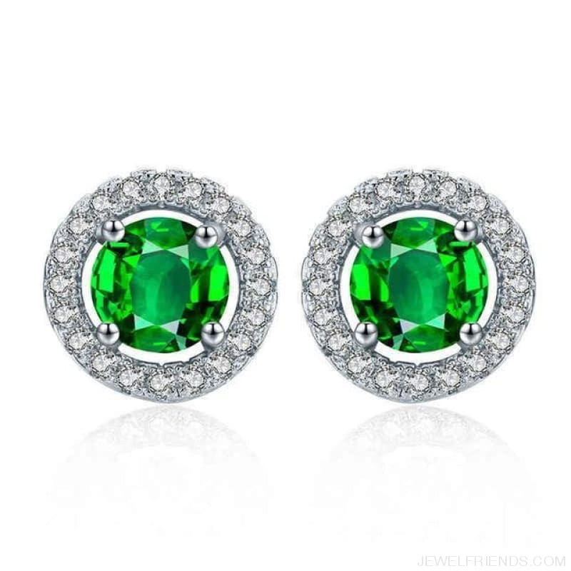 White Gold Color Aaa Zircon Round Earrings - Green - Custom Made | Free Shipping