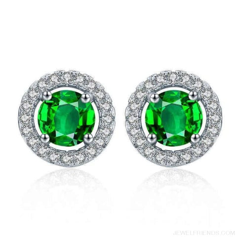 Image of White Gold Color Aaa Zircon Round Earrings - Green - Custom Made | Free Shipping