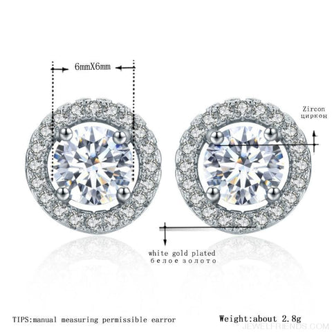 Image of White Gold Color Aaa Zircon Round Earrings - Custom Made | Free Shipping