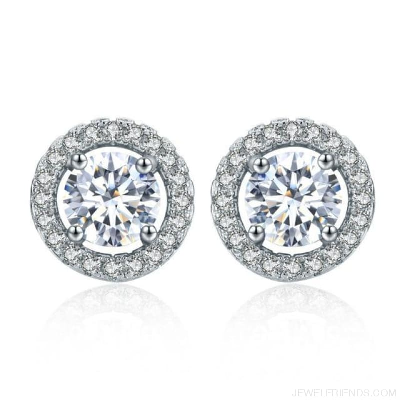 White Gold Color Aaa Zircon Round Earrings - White - Custom Made | Free Shipping