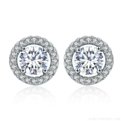 Image of White Gold Color Aaa Zircon Round Earrings - White - Custom Made | Free Shipping