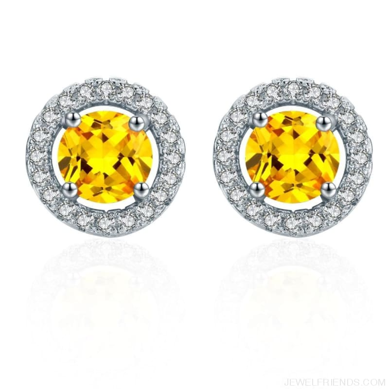 White Gold Color Aaa Zircon Round Earrings - Custom Made | Free Shipping