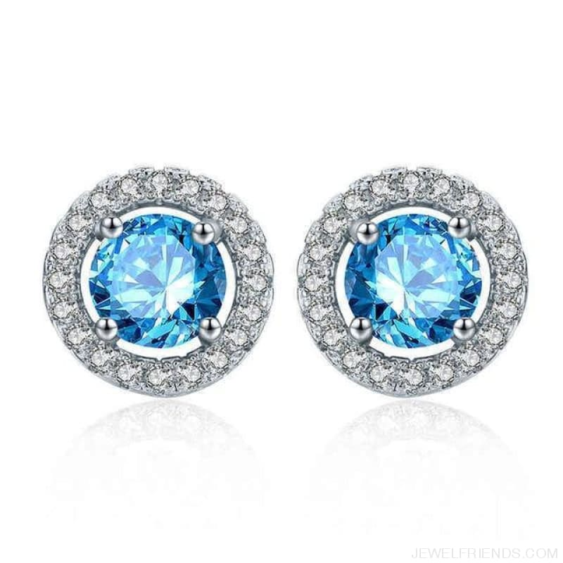White Gold Color Aaa Zircon Round Earrings - Light-Blue - Custom Made | Free Shipping