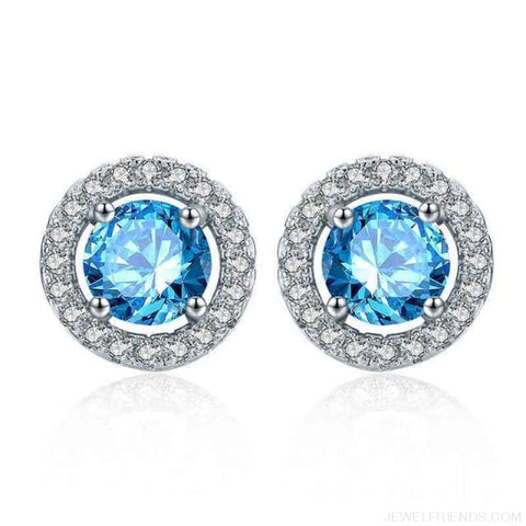 Image of White Gold Color Aaa Zircon Round Earrings - Light-Blue - Custom Made | Free Shipping