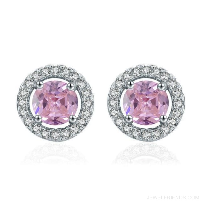 White Gold Color Aaa Zircon Round Earrings - Pink - Custom Made | Free Shipping