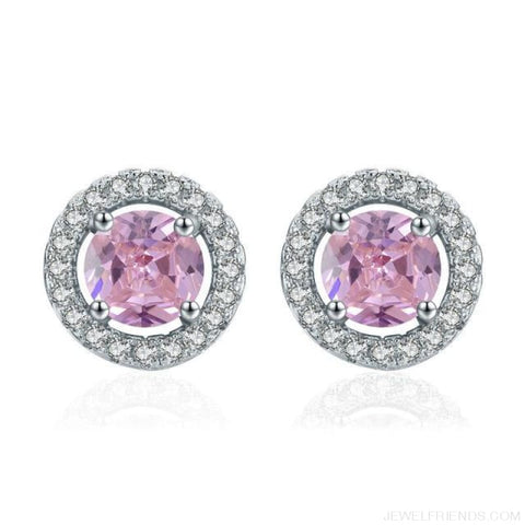 Image of White Gold Color Aaa Zircon Round Earrings - Pink - Custom Made | Free Shipping