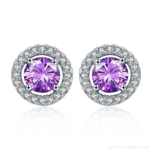 Image of White Gold Color Aaa Zircon Round Earrings - Purple - Custom Made | Free Shipping