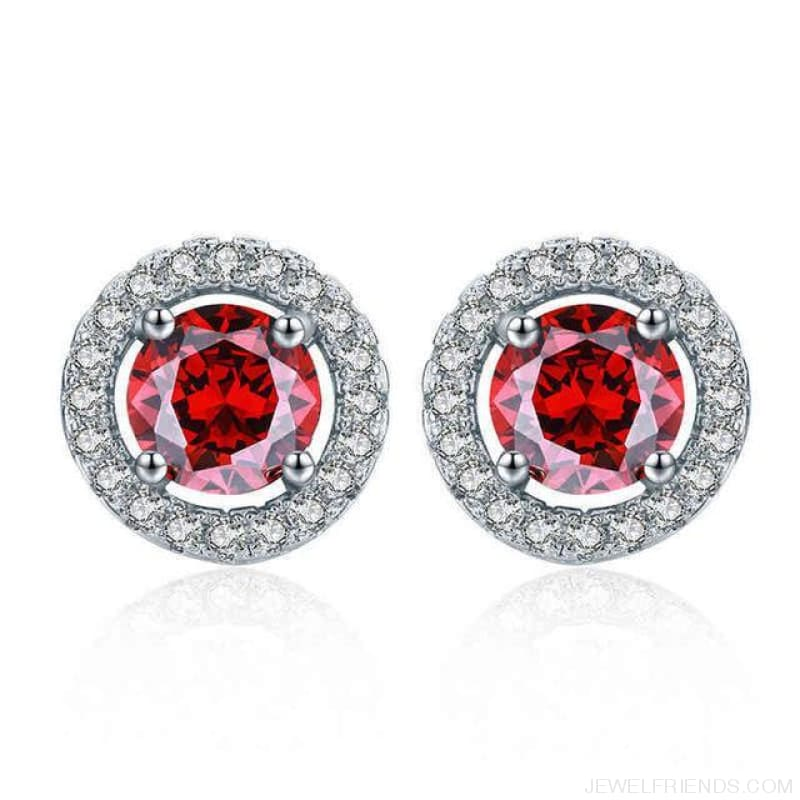 White Gold Color Aaa Zircon Round Earrings - Red - Custom Made | Free Shipping