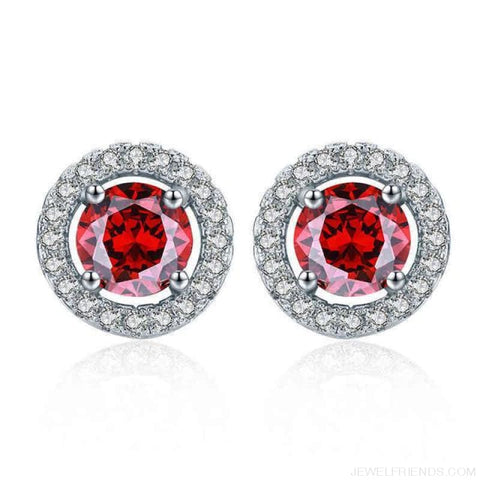 Image of White Gold Color Aaa Zircon Round Earrings - Red - Custom Made | Free Shipping