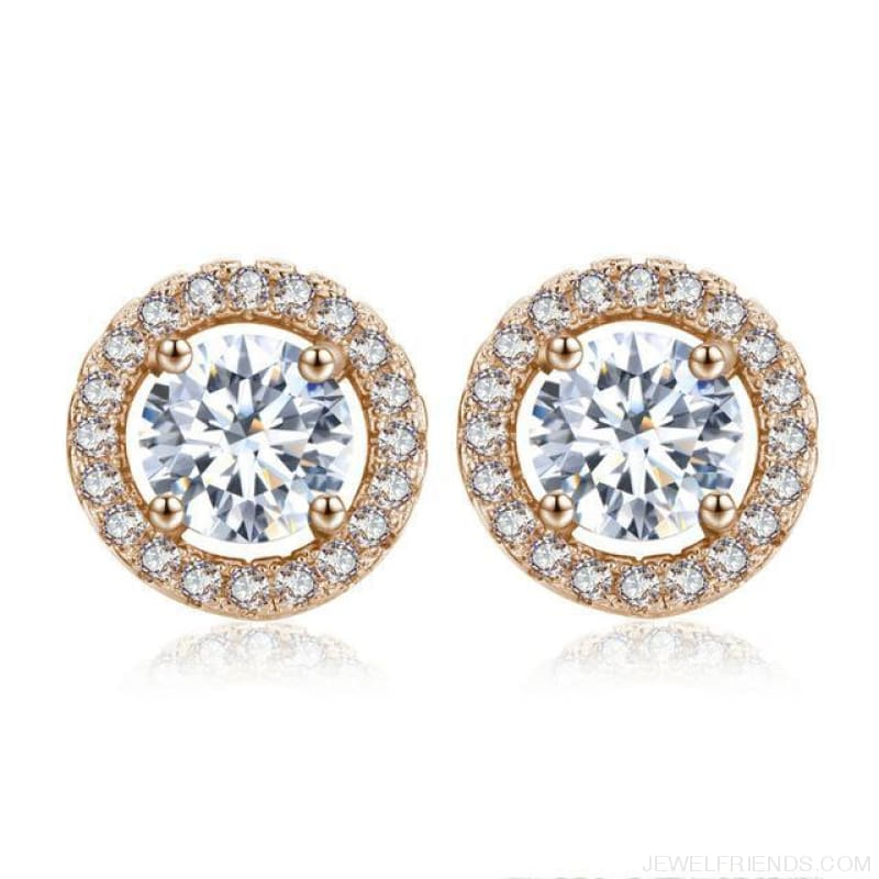 White Gold Color Aaa Zircon Round Earrings - Rose Gold Plated - Custom Made | Free Shipping