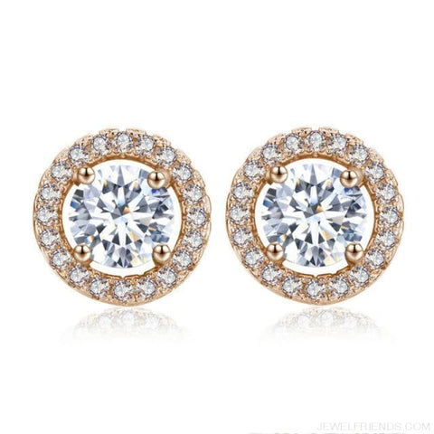 Image of White Gold Color Aaa Zircon Round Earrings - Rose Gold Plated - Custom Made | Free Shipping