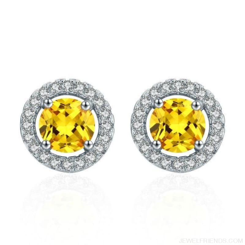White Gold Color Aaa Zircon Round Earrings - Yellow - Custom Made | Free Shipping