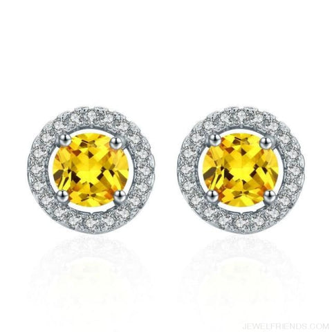 Image of White Gold Color Aaa Zircon Round Earrings - Yellow - Custom Made | Free Shipping