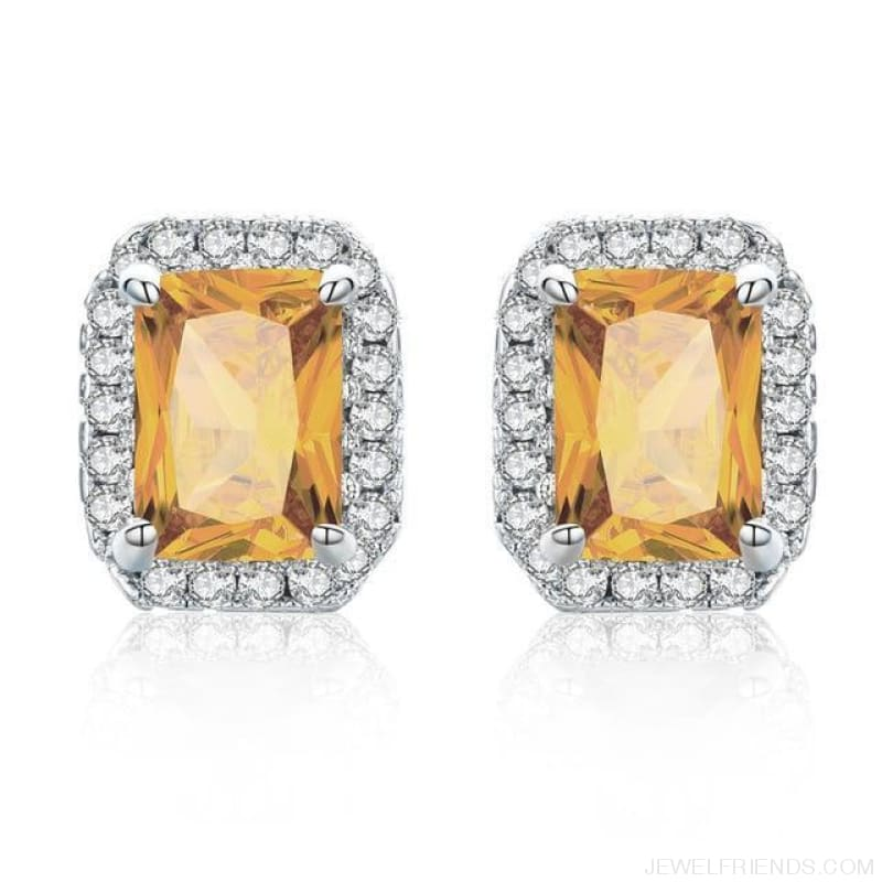White Gold Color Edge & Colorful Zircon Stud Earrings - Amber - Custom Made | Free Shipping