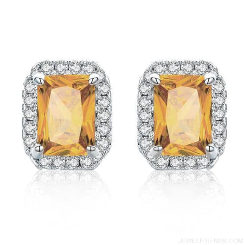 Image of White Gold Color Edge & Colorful Zircon Stud Earrings - Amber - Custom Made | Free Shipping