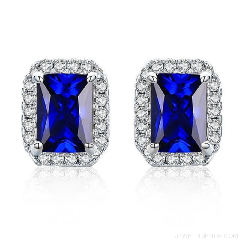 White Gold Color Edge & Colorful Zircon Stud Earrings - Blue - Custom Made | Free Shipping