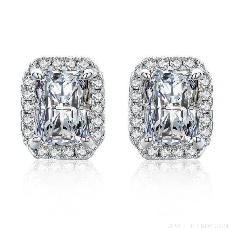 White Gold Color Edge & Colorful Zircon Stud Earrings - Clear - Custom Made | Free Shipping