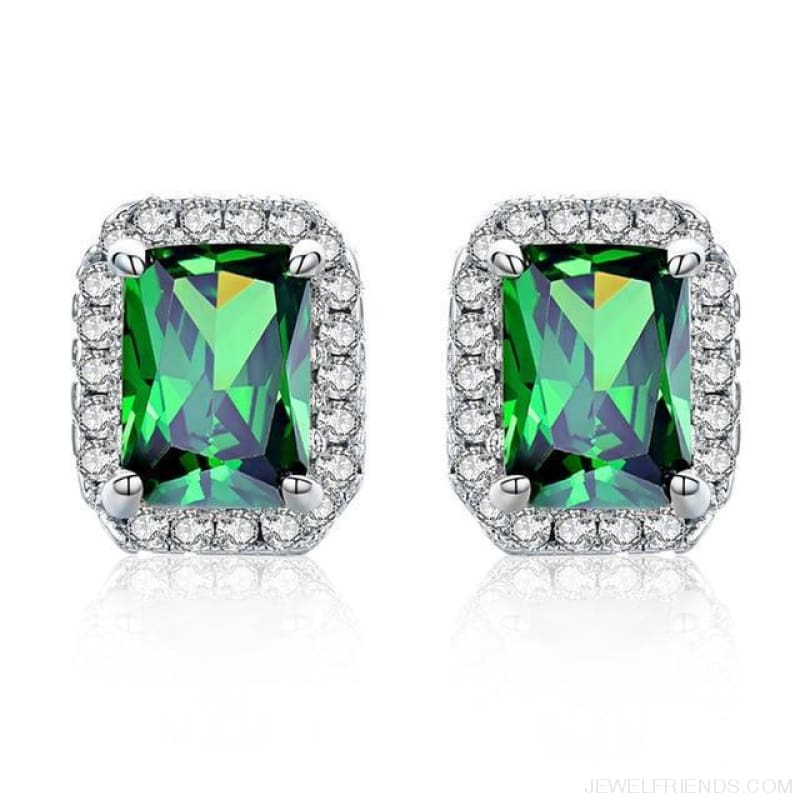 White Gold Color Edge & Colorful Zircon Stud Earrings - Green - Custom Made | Free Shipping