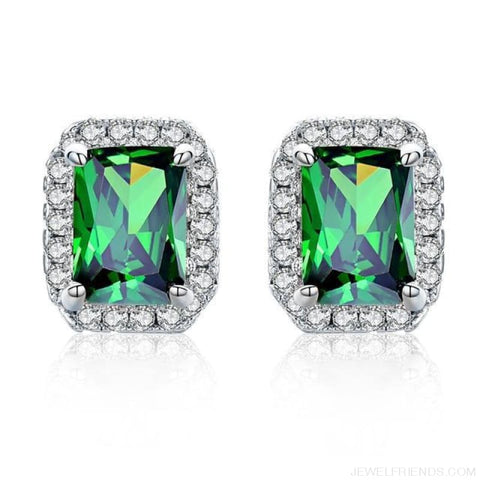 Image of White Gold Color Edge & Colorful Zircon Stud Earrings - Green - Custom Made | Free Shipping