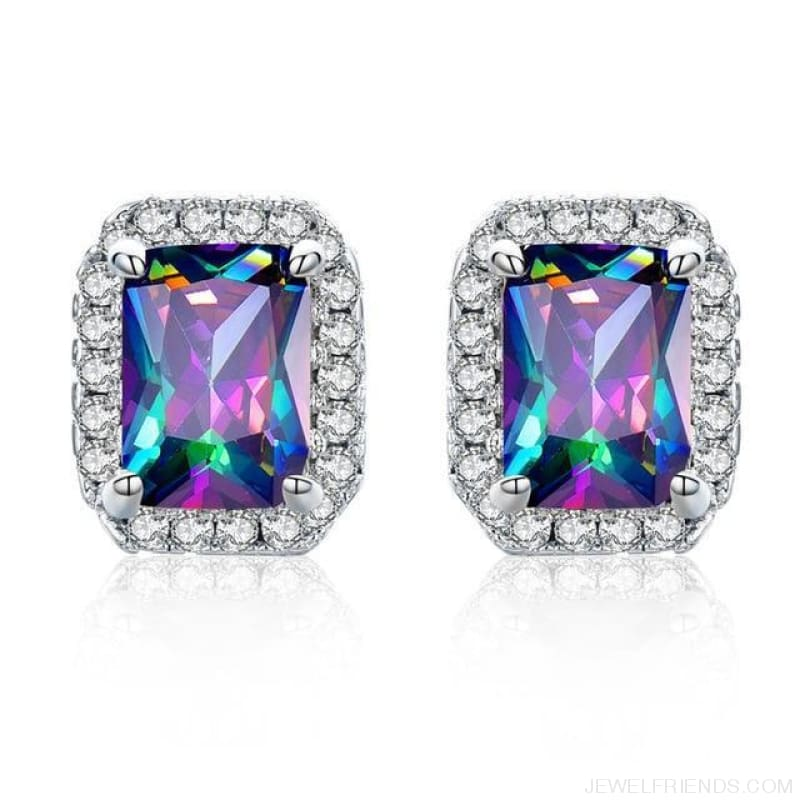 White Gold Color Edge & Colorful Zircon Stud Earrings - Colorful - Custom Made | Free Shipping