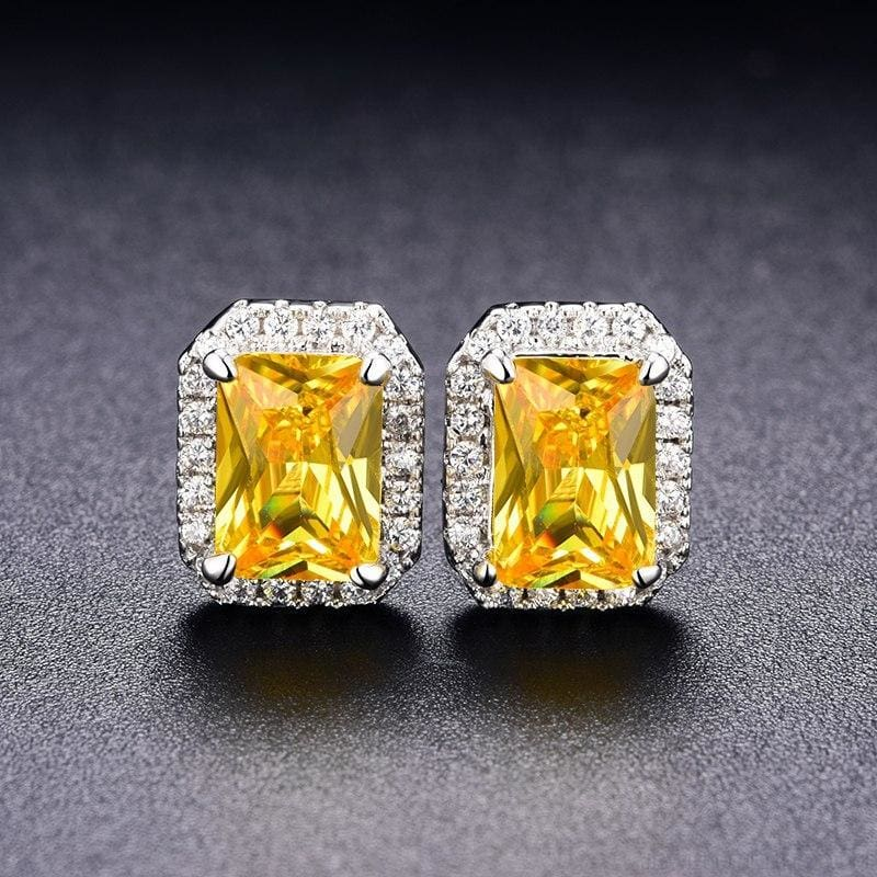 White Gold Color Edge & Colorful Zircon Stud Earrings - Custom Made | Free Shipping