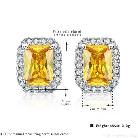 Image of White Gold Color Edge & Colorful Zircon Stud Earrings - Custom Made | Free Shipping