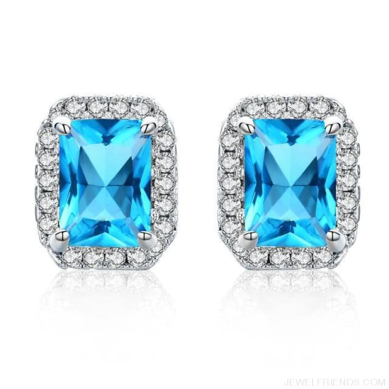White Gold Color Edge & Colorful Zircon Stud Earrings - L-Sapphire Blue - Custom Made | Free Shipping