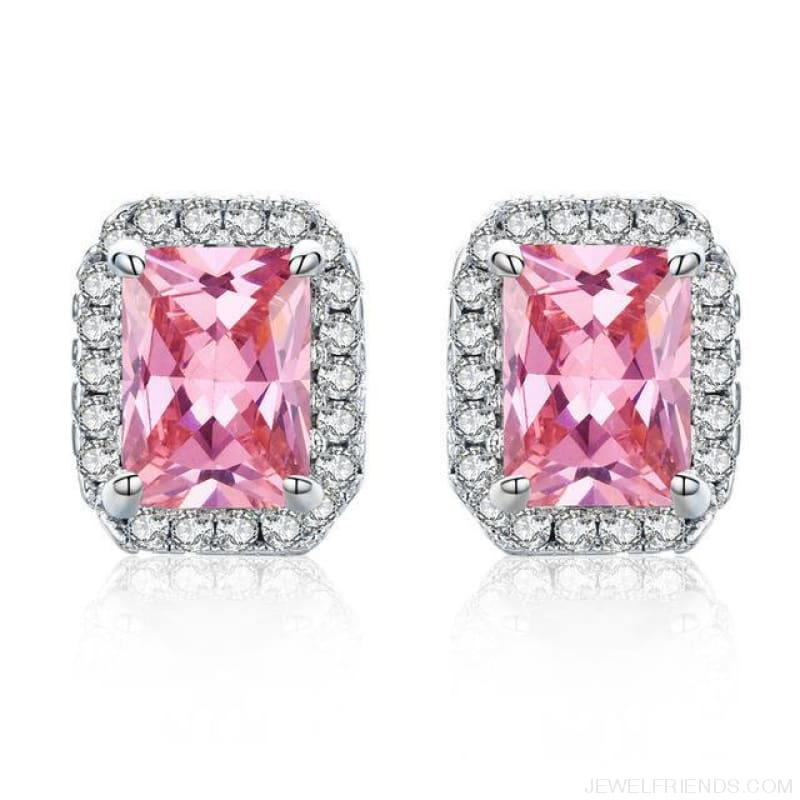 White Gold Color Edge & Colorful Zircon Stud Earrings - Pink - Custom Made | Free Shipping