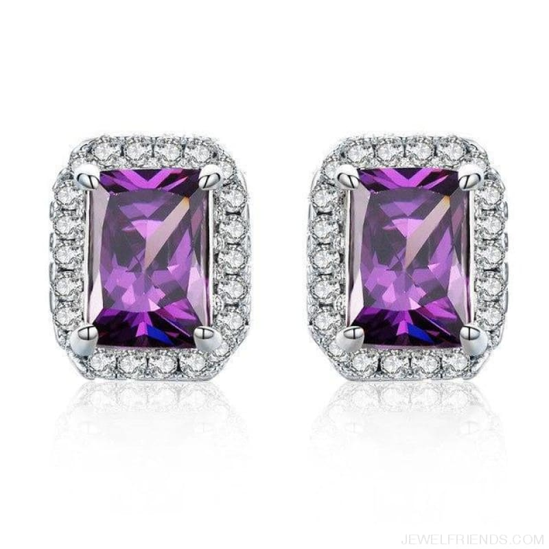 White Gold Color Edge & Colorful Zircon Stud Earrings - Purple - Custom Made | Free Shipping