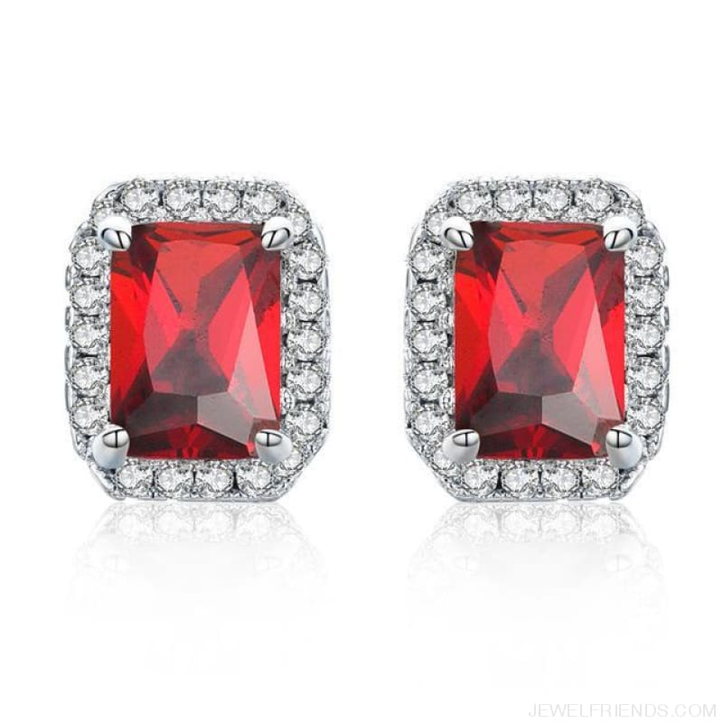 White Gold Color Edge & Colorful Zircon Stud Earrings - Red - Custom Made | Free Shipping