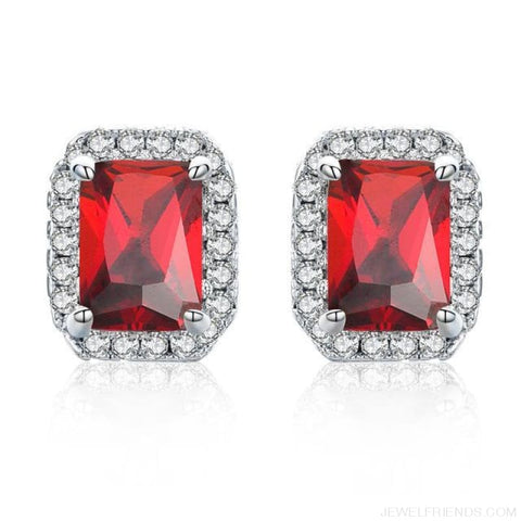 Image of White Gold Color Edge & Colorful Zircon Stud Earrings - Red - Custom Made | Free Shipping