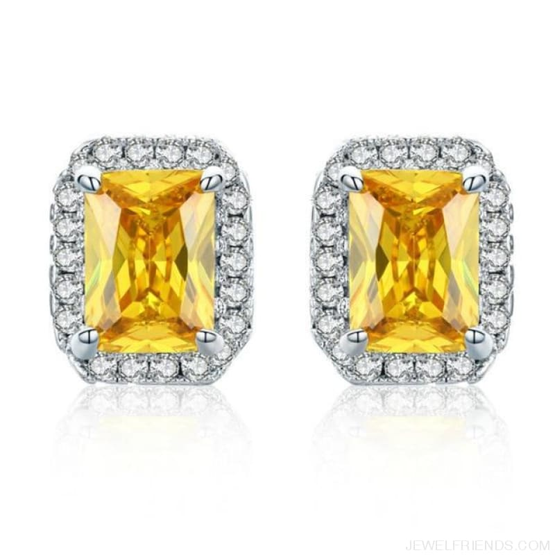 White Gold Color Edge & Colorful Zircon Stud Earrings - Yellow - Custom Made | Free Shipping