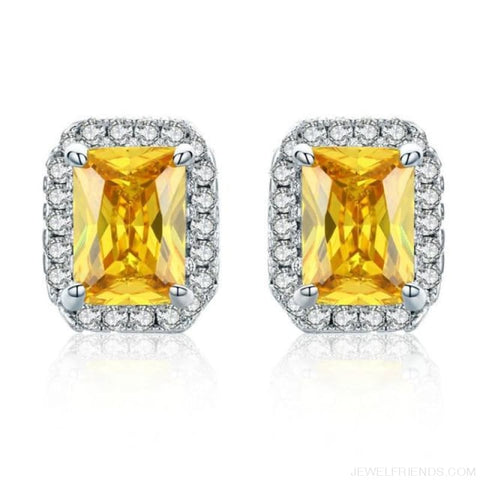 Image of White Gold Color Edge & Colorful Zircon Stud Earrings - Yellow - Custom Made | Free Shipping