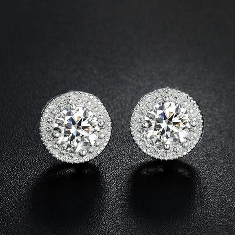 Image of White Gold Color Micro Round Cz Crystal Stud Earrings - Custom Made | Free Shipping