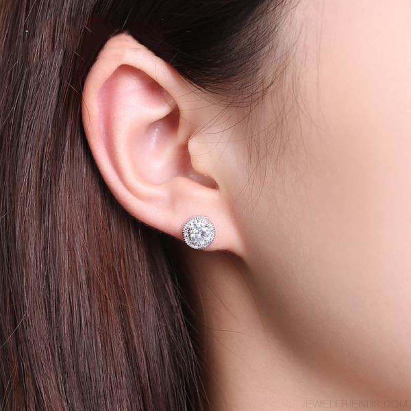 White Gold Color Micro Round Cz Crystal Stud Earrings - Custom Made | Free Shipping