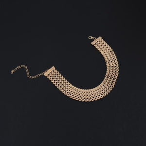 Wide Gold/Silver Zinc Alloy Choker