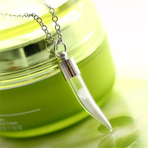 Image of Wolf Tooth Glass Bottle Blue Light Glow In The Dark Necklace - Custom Made | Free Shipping