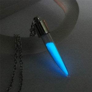 Wolf Tooth Glass Bottle Blue Light Glow In the Dark Necklace