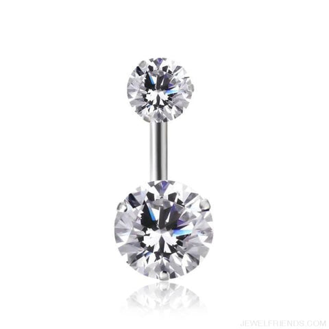 Image of Zircon Crystal Double Ball Navel Piercing - 11 - Custom Made | Free Shipping