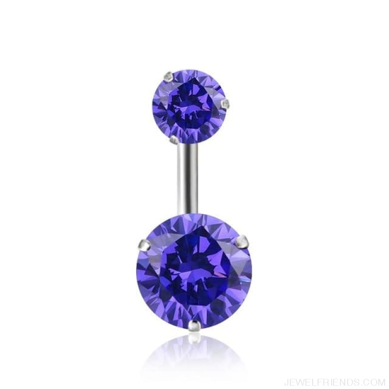 Zircon Crystal Double Ball Navel Piercing - 2 - Custom Made | Free Shipping