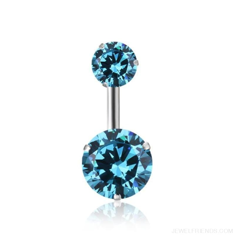 Zircon Crystal Double Ball Navel Piercing - 5 - Custom Made | Free Shipping