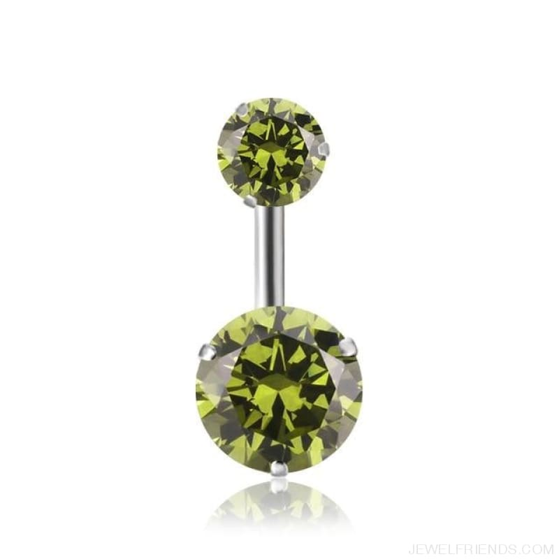 Zircon Crystal Double Ball Navel Piercing - 9 - Custom Made | Free Shipping